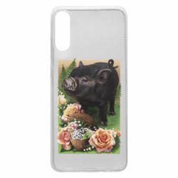Чехол для Samsung A70 Black pig and flowers