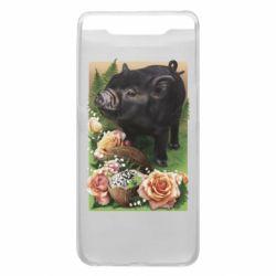 Чехол для Samsung A80 Black pig and flowers