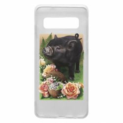 Чехол для Samsung S10 Black pig and flowers