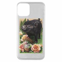 Чехол для iPhone 11 Black pig and flowers
