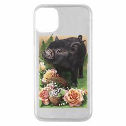 Чехол для iPhone 11 Pro Black pig and flowers