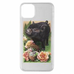 Чехол для iPhone 11 Pro Max Black pig and flowers