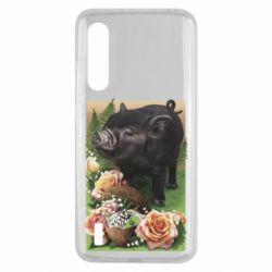 Чехол для Xiaomi Mi9 Lite Black pig and flowers