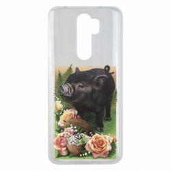 Чехол для Xiaomi Redmi Note 8 Pro Black pig and flowers