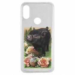 Чехол для Xiaomi Redmi Note 7 Black pig and flowers