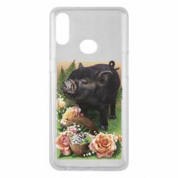 Чехол для Samsung A10s Black pig and flowers