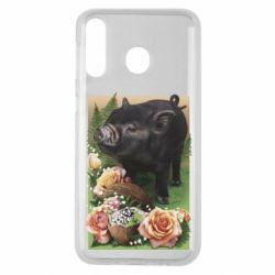 Чехол для Samsung M30 Black pig and flowers