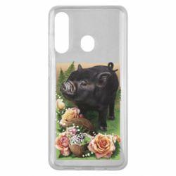 Чехол для Samsung M40 Black pig and flowers