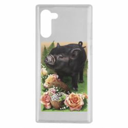 Чехол для Samsung Note 10 Black pig and flowers