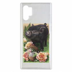 Чехол для Samsung Note 10 Plus Black pig and flowers