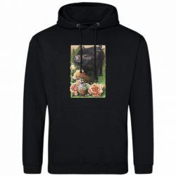 Мужская толстовка Black pig and flowers