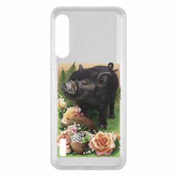 Чохол для Xiaomi Mi A3 Black pig and flowers