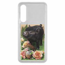 Чехол для Xiaomi Mi9 SE Black pig and flowers
