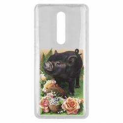 Чехол для Xiaomi Mi9T Black pig and flowers