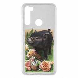 Чехол для Xiaomi Redmi Note 8 Black pig and flowers