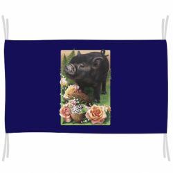 Флаг Black pig and flowers