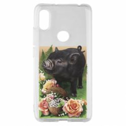 Чехол для Xiaomi Redmi S2 Black pig and flowers