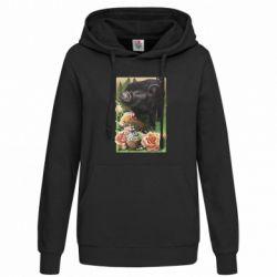 Женская толстовка Black pig and flowers