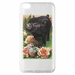 Чехол для Xiaomi Redmi Go Black pig and flowers