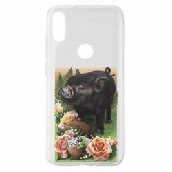 Чехол для Xiaomi Mi Play Black pig and flowers