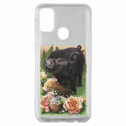 Чехол для Samsung M30s Black pig and flowers