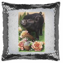 Подушка-хамелеон Black pig and flowers