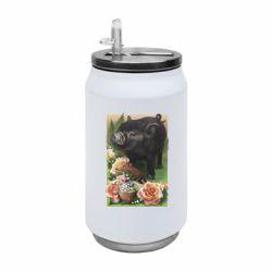 Термобанка 350ml Black pig and flowers