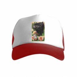 Детская кепка-тракер Black pig and flowers