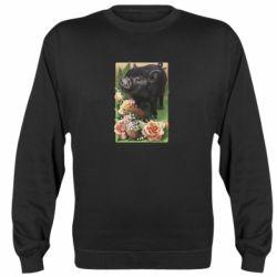 Реглан (свитшот) Black pig and flowers