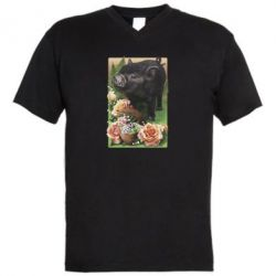 Мужская футболка  с V-образным вырезом Black pig and flowers