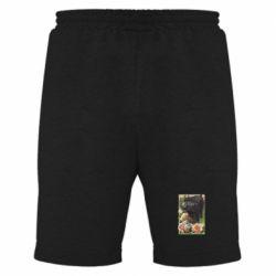 Мужские шорты Black pig and flowers