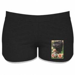 Жіночі шорти Black pig and flowers