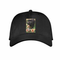 Детская кепка Black pig and flowers