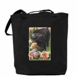 Сумка Black pig and flowers