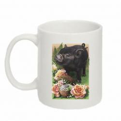 Кружка 320ml Black pig and flowers