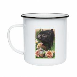 Кружка емальована Black pig and flowers