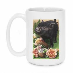 Кружка 420ml Black pig and flowers