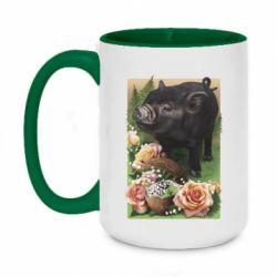Кружка двоколірна 420ml Black pig and flowers