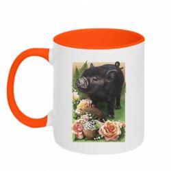 Кружка двоколірна 320ml Black pig and flowers
