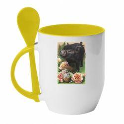 Кружка с керамической ложкой Black pig and flowers