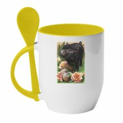 Кружка з керамічною ложкою Black pig and flowers