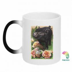 Кружка-хамелеон Black pig and flowers