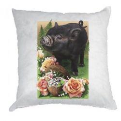 Подушка Black pig and flowers
