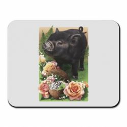 Коврик для мыши Black pig and flowers