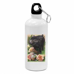 Фляга Black pig and flowers