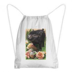 Рюкзак-мішок Black pig and flowers