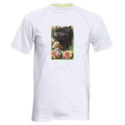 Мужская спортивная футболка Black pig and flowers
