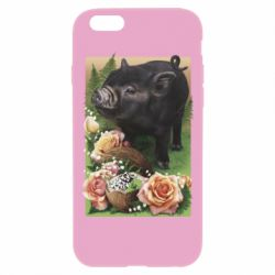 Чехол для iPhone 6 Plus/6S Plus Black pig and flowers