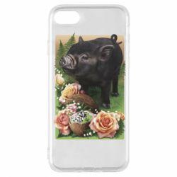 Чехол для iPhone 7 Black pig and flowers