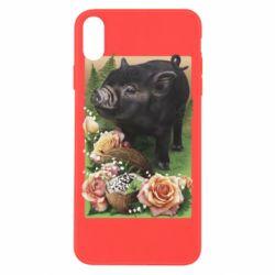 Чехол для iPhone X/Xs Black pig and flowers